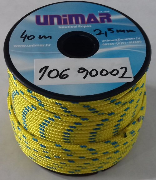 Konop Mini Roll Unimar 2,5 mm žuto-plavi (30m)