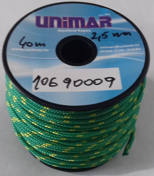 Konop Mini Roll Unimar 2,5 mm zeleno-žuti (30m)