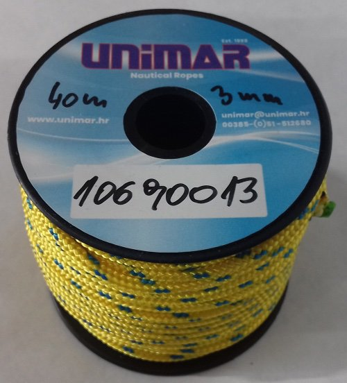 Konop Mini Roll Unimar 3 mm žuto-plavi (20m)