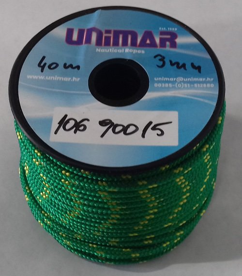 Konop Mini Roll Unimar 3 mm zeleno-žuti (20m)